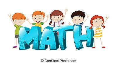 mot, filles, garçons, conception, police, math