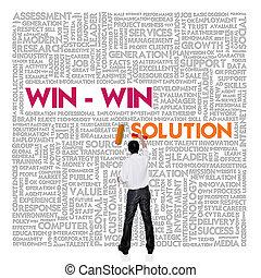mot, finance, concept affaires, gagner, solution, nuage