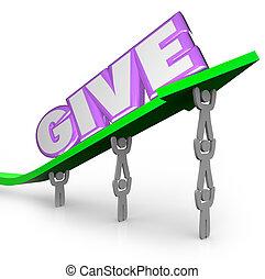 mot, fonctionnement, donner, donner, flèche, équipe, charité