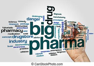 mot, fond, gris, pharma, grand nuage, concept
