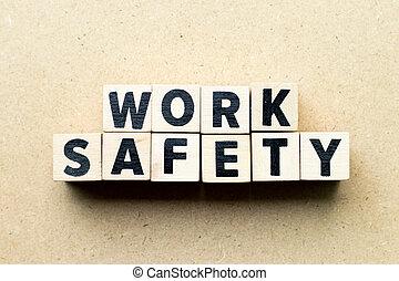 mot, fond, travail, bois, sécurité, lettre, bloc