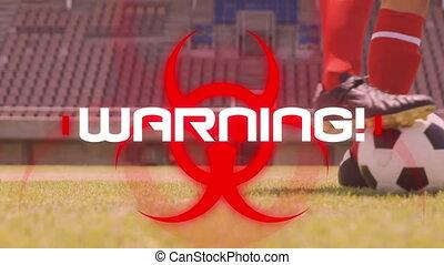 mot, football, fond, avertissement, animation, stade