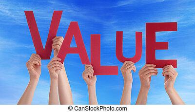 mot, gens, beaucoup, valeur, tenant mains, rouges