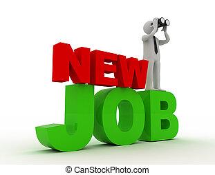 mot, gens, binoculaire, -, personne, métier, nouveau, job., homme, concept., 3d