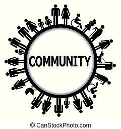 mot, gens, cadre, communauté, pictograms, rond