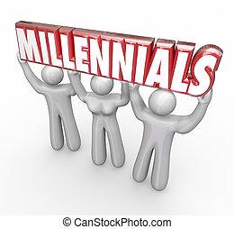 mot, gens, commercialisation, jeune, jeunesse, millennials, 3, levage