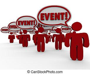 mot, gens, enduisage, événement, conversation, parole, message, bulles