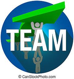 mot, gens fonctionnement, équipe, long, ascenseur, ensemble, flèche, cachet, ombre, cercle