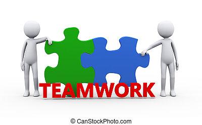 mot, gens, puzzle, résolu, collaboration, morceau, 3d