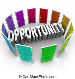 mot, grand, chance, avenir, portes, nouveau, ouvert,...