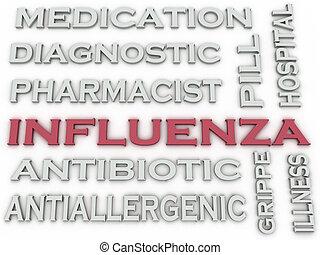 mot, grippe, image, fond, 3d, nuage, concept, questions