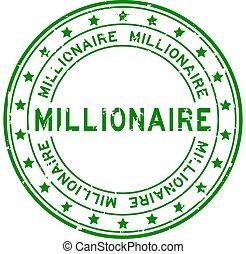 mot, grunge, millionnaire, vert, tampon, blanc, squre, fond, cachet