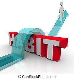 mot, habitude, sur, surmonter, personne, obstacle, ...