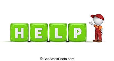 mot, help., personne, petit, workwear, 3d