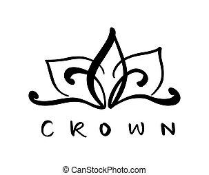 mot, icône, symbole, couronne, isolé, illustration, main, stylisé, vecteur, conception, white., dessiné, logo, calligraphic, crown.