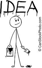 mot, idée, pinceau, homme affaires, peinture, dessin animé, boîte