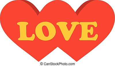 mot, illustration., love., deux, vecteur, cœurs
