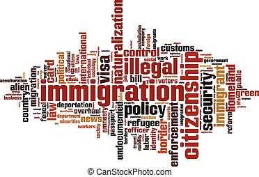 mot, immigration, nuage