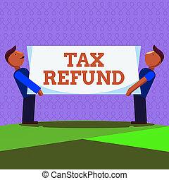 mot, impôts, business, porter, propriétaires, refund., impôt...