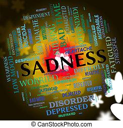 mot, indique, déprimé, cassé, tristesse, hearted