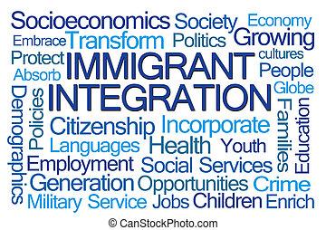 mot, intégration, nuage, immigré