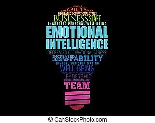 mot, intelligence, ampoule, lumière, émotif, nuage