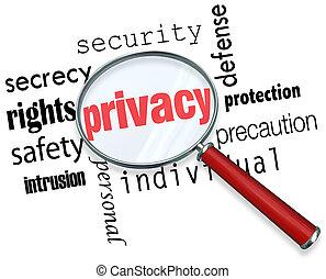 mot, intimité, verre, vol, ligne, sécurité, magnifier, identité