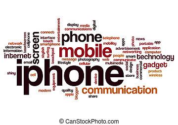 mot, iphone, nuage