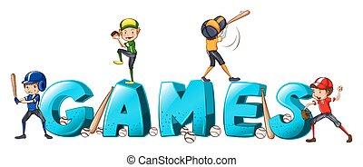 mot, jeux, gens, base-ball, conception, police, jouer