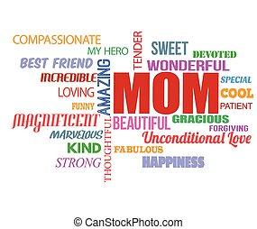 mot, jour, nuage, mères