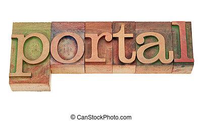 mot, letterpress, -, bois, portail, type