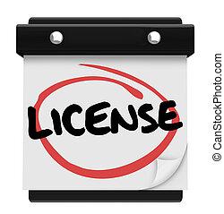 mot, licence, dû, date, approbation, rappel, calendrier, ...