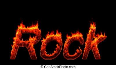 mot, loopable, brûlé, rocher