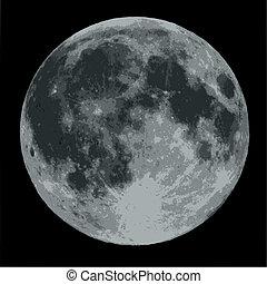 mot, måne, svarting himmel, fyllda