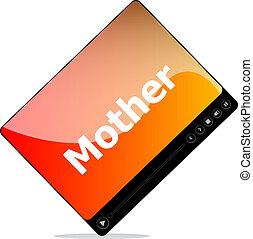 mot, média, mère, joueur, social, interface, concept: