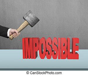 mot, main, essayer, tenue, fissure, impossible, marteau, 3d