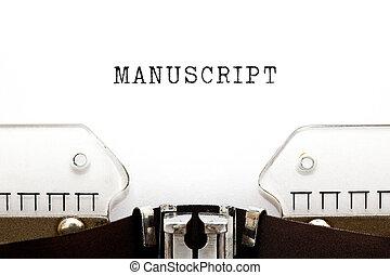 mot, manuscrit, machine écrire, vendange, tapé