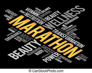 mot, marathon, nuage