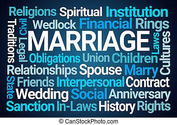 mot, mariage, nuage