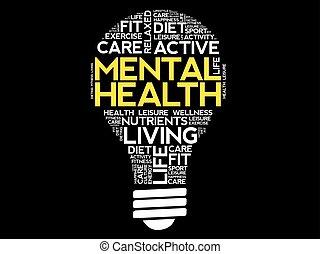 mot, mental, collage, santé, ampoule, nuage