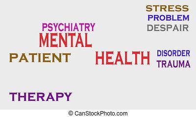 mot, mental, monde médical, étiquette, santé, cloud., concept.