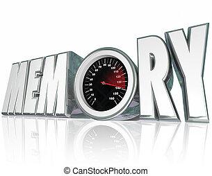 mot, mental, rappel, santé, mémoire, améliorer, compteur vitesse, 3d