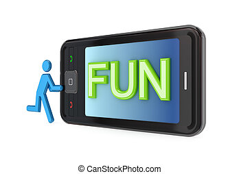 mot, mobile, grand, moderne, téléphone, fun.