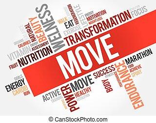 mot, mouvement, fitness, nuage