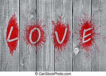 """mot, mur bois, """"love"""""""