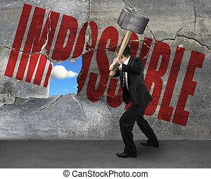 mot, mur, il, béton, fissure, impossible