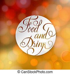mot, nourriture, boisson, -, plaque., blanc