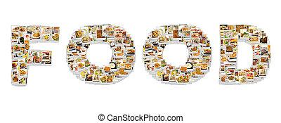 mot, nourriture, collage