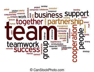 mot, nuage, équipe