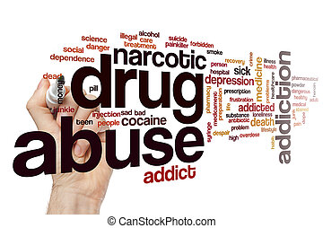 mot, nuage, abus drogue